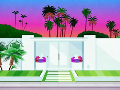 Palm Springs House #2 sunset palm trees palm canyon drive desert life california homes vector modern house mid century home mid century modern midcentury palm desert california palm springs vectorart digital art drawing print illustration design art