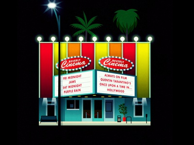 Beverly Cinema palm trees hollywood quentin tarantino marquee sign retro 1950s film movies cinema theatre theater movie theater california los angeles beverly beverly cinema