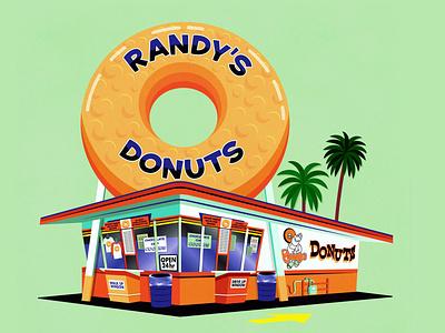 Randy's Donuts 50s style 1950s mid century fan art palm trees art illustration digital illustrations donut shop shop inglewood los angeles california donuts drawingart drawing digital illustration vector
