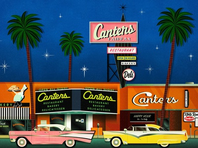 Canter's Deli fan artist print illustration drawing palm trees delicatessen bakery restaurant kibitz room california 1950s vintage sign los angeles fairfax district fairfax canters