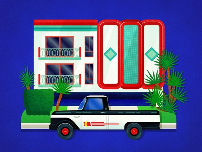 West Hollywood vector red colorful illustration art print street apartment home building 50s mid century retro 1950s car ford truck truck ford west hollywood hollywood