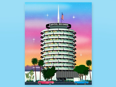 Capitol Records digital art vector architecture building music sunset drawing print fan art art illustration landmark record label california los angeles hollywood records capitol capitol records