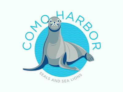Sea Lion Logo Concept blue water vector art branding zoo logo sea life aquarium zoo aquatic illustration seals seal sea lions sea lion badge logo design logo