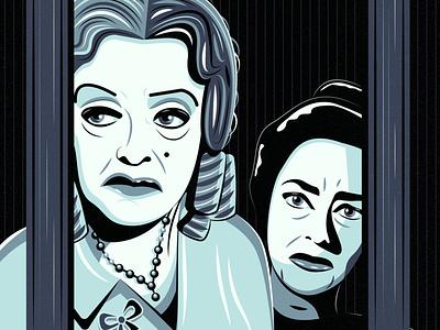 What Ever Happened to Baby Jane? digital art drawing portrait illustration art fan art horror 1950s feud old hollywood hollywod halloween film halloween robert aldrich joan crawford bette davis jane hudson blanche hudson baby jane what ever happened to baby jane