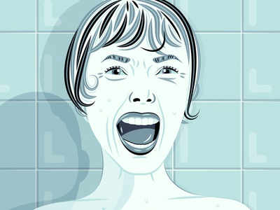 Psycho digital art psycho fan art portrait illustration drawing art fan art shower scene murder shower horror film halloween marion crane anthony perkins norman bates janet leigh alfred hitchcock hitchcock psycho