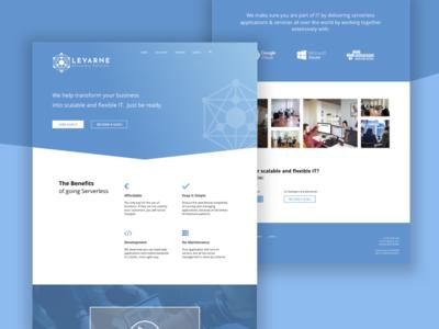 Website LeVarne landing blue flat gradient desktop design it website ui