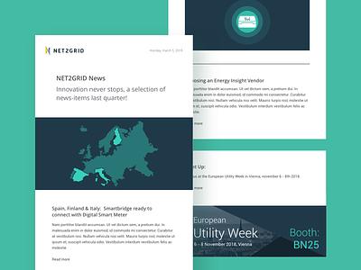 NET2GRID Newsletter social branding blue green color illustration design newsletter