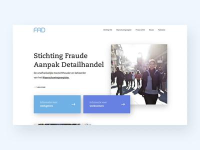 Stichting FAD Website ux ui interface landingpage web blue business animation website webflow