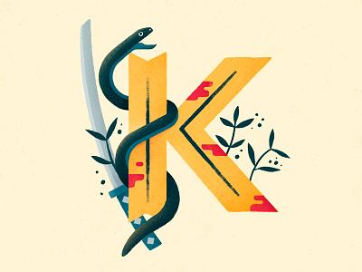 Kill Bill uma thurman quentin tarantino blood black mamba k lettering 36 days of type type tarantino snake katana kill bill
