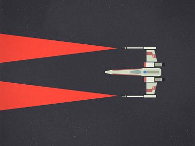 X-wing minimalist illustration xwing starwars vector