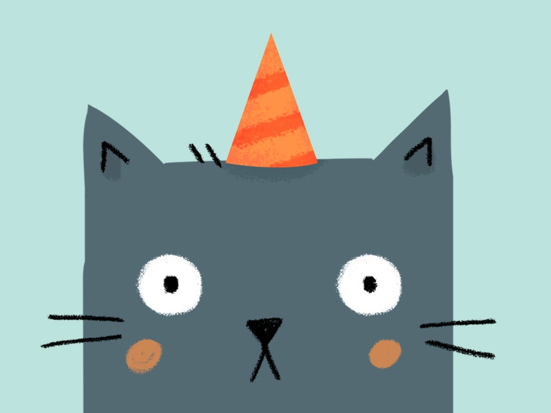 omg it's your birthday character texture art party hat bday design flat illustration digital kitty cat