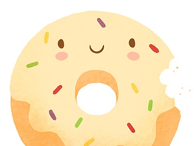 Vanilla donut character art print kawaii sweet cute illustration food dessert doughnut donut vanilla