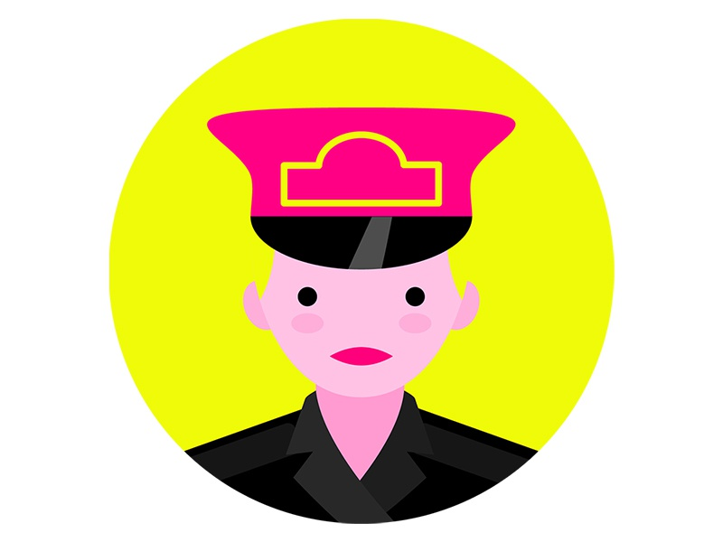 Officer Reese - Back to the Future portrait  neon illustration digital vector portrait girl cop police officer back to the future bttf