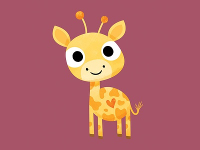 Tembo the Giraffe childrens illustration animals animal art giraffe texture digital character design character cute vector illustration