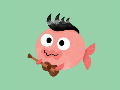 Bob the Blobfish guitar animals fish textures texture digital character quiff elvis blobfish character design illustration vector cute