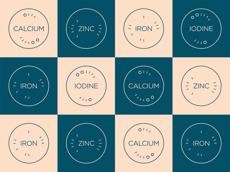 High in Minerals iodine dynamic icons minerals pattern icons checkerboard iron zinc calcium outline icons line icons vitamins vitamins and minerals