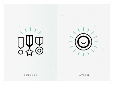 Experience & Happiness icons teal concept icons dynamic icons sustainable business icons mission icons outline icons line icons happiness icon experience icon business principles icons value icons business icons