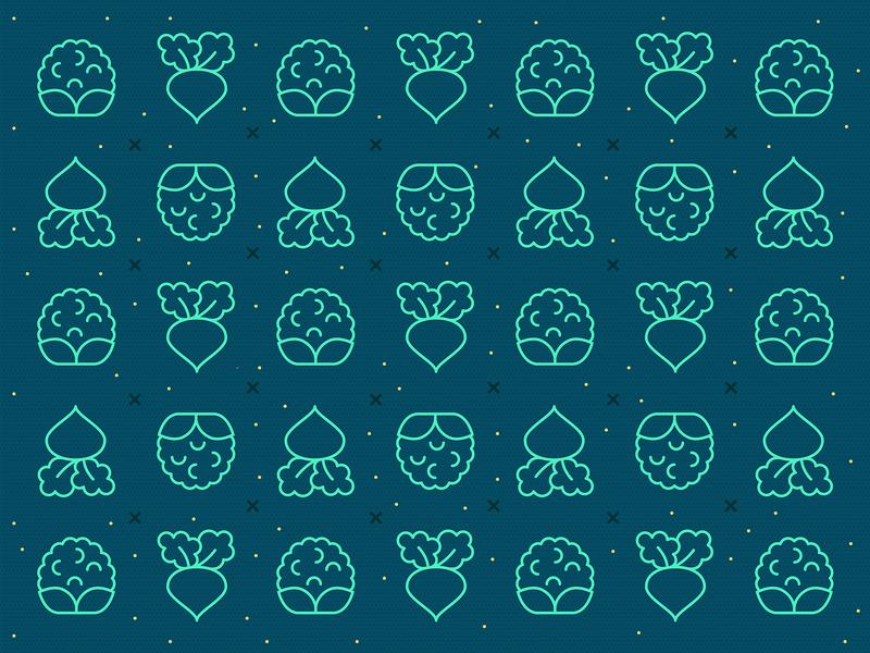 Veggie pattern #2 farmer pattern food pattern vegetable pattern outline icons minimal icons line icons healthy veggies green pattern green food icons beet icon cauliflower icon