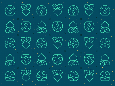 Veggie pattern #2 farmer pattern food pattern vegetable pattern outline icons minimal icons line icons healthy veggies green pattern green food icons beet icon cauliflower icon