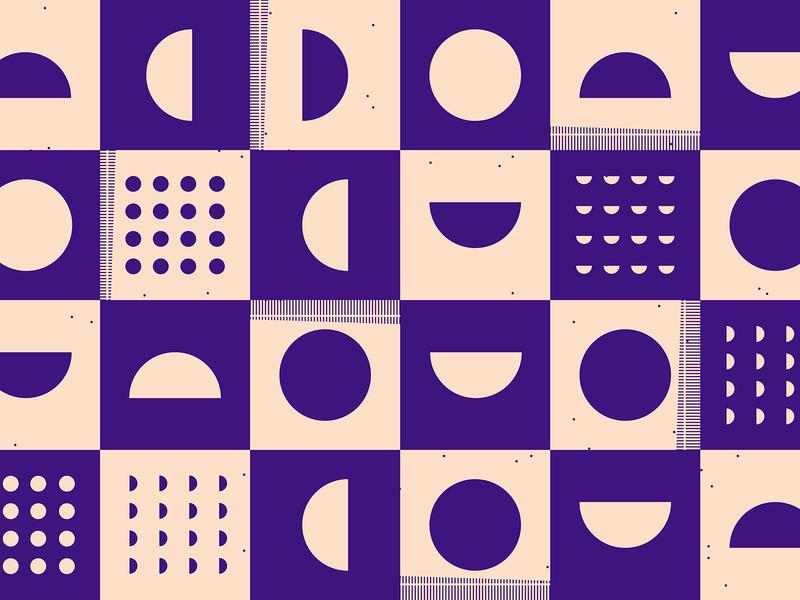 Purple squares movement half circles circles square pattern shape pattern purple pattern minimal illustration checkerboard geometric pattern abstract
