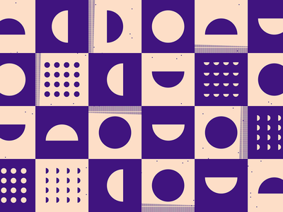 Purple squares movement half circles circles square pattern shape pattern purple pattern minimal illustration checkerboard geometric pattern abstract