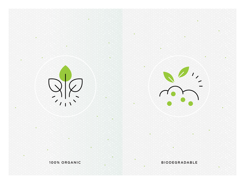 Organic and Biodegradable green natural food icons product benefits product features icons healthy food icons biodegradable icon organic icon packaging icons food packaging icons food icons sustainable icons