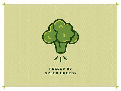 Funny: Green energy veggies vegetarian vegan bold design kawaii funny illustration green broccoli illustration t-shirt design funny tshirt green energy fueled by green energy