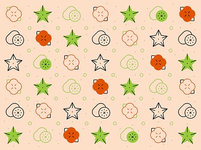 Fruit pattern illustration orange green food icons exotic fruit fruit pattern line icons persimmon icon carambola starfruit icon kiwi icon kiwifruit
