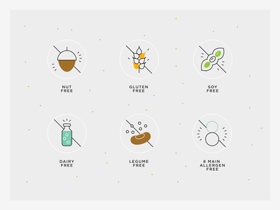 Healthy food values - allergens organic sustainable icons natural food icons line icons allergen free icon legume free icon dairy free icon soy free icon gluten free icon fut free icon allergen icons healthy food icons