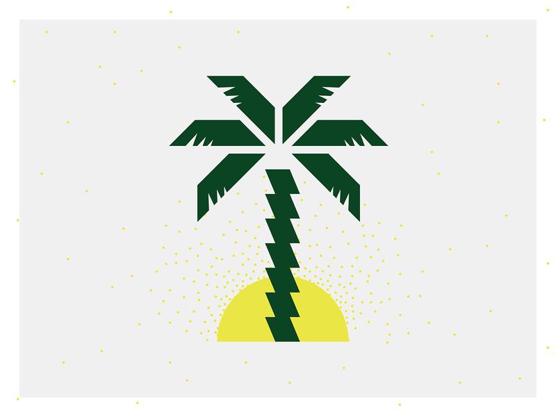 Palmtrees and sun florida hawaii sunrise minimalism geometric abstract yellow green sun palm tree minimal illustration