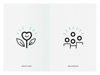 Gratitude and belonging icons
