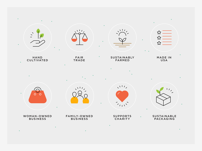 Sustainable business - features line icons food icon values healthy food icons business value icons sustainable packaging icon supports charity icon family-owned business icon woman-owned business icon made in usa icon sustainably farmed icon fair trade icon hand cultivated icon