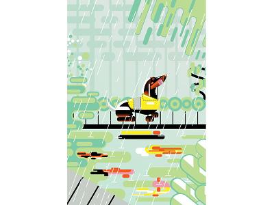 Dachshund in the Rain landscape animal pet dog design editorial abstract contemporary caricature illustrator illustration vector