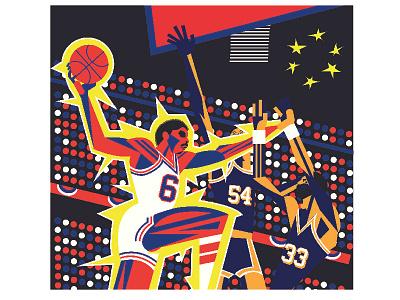 Dr J D vector illustration caricature sports