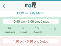 Flight listing for Roll