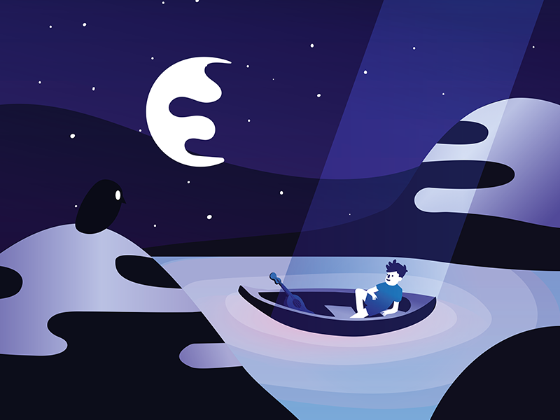 Space trip boat light landscape mountain water child night illustration