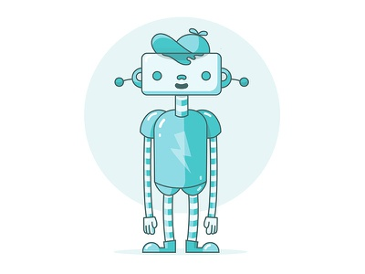 Hi i'm Plug blue cap illustrator ai illustration robot