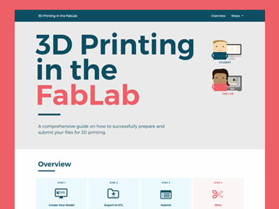 3D Printing in the FabLab illustration web design 3d printing