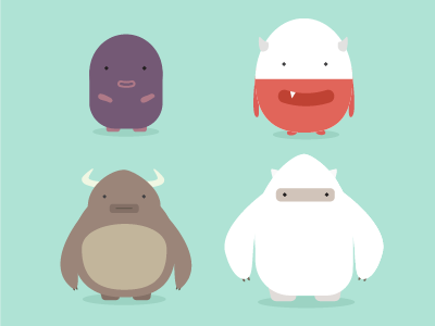 Little Monsters flat creatures characters monsters illustration