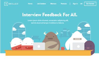 Skilled Landing Page  ui flat monsters illustration web design