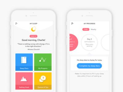 Sleep App visual design interaction design ui ux mobile teens colourful sleep app