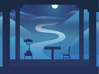Mountain night quite atmosphere deem moon night blue moods vector minimal illustration flat design art