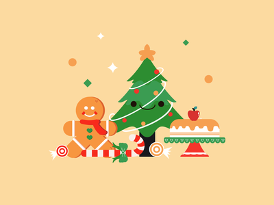 Christmas settings yellow green stars candy cake ginger man gingerbread man christmas tree christmas art orange flat design minimal vector illustration