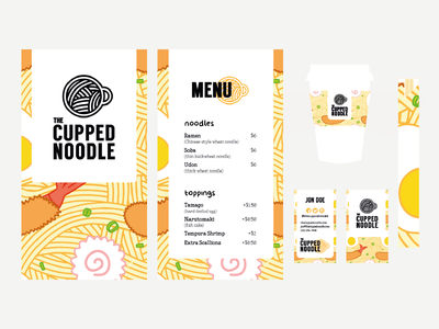 The Cupped Noodle logo food soup to-go takeaway chopsticks cup menu packaging branding noodle