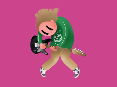 Misfits fan misfits music guitar vans guitarist procreate web ui character illustration