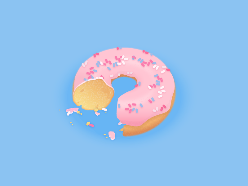 Already bitten! illustration food sweet sprinkles crumbs bits bite donut