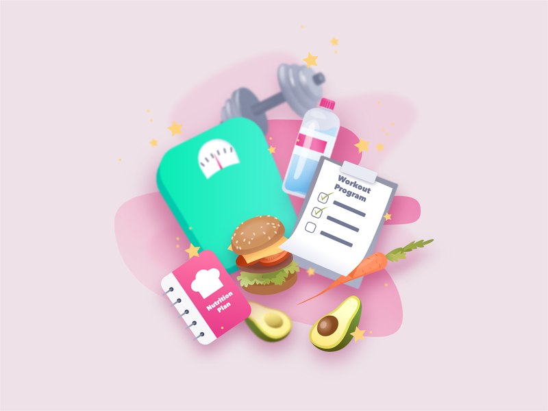 Welcome Picture for Sport App carrot avocado weight water burger nutrition healthy food sport ui illustration