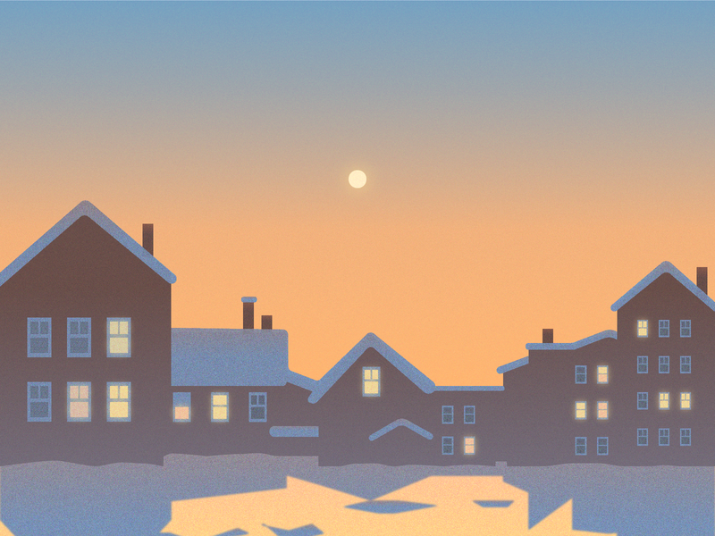 Winter suburbia nature light sunset evening suburbia landscape illustration365
