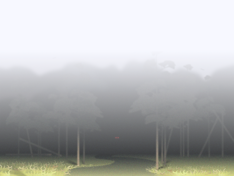 Foggy forest spooky glow light atmosphere mysterious scary eyes mystic fog forest illustration