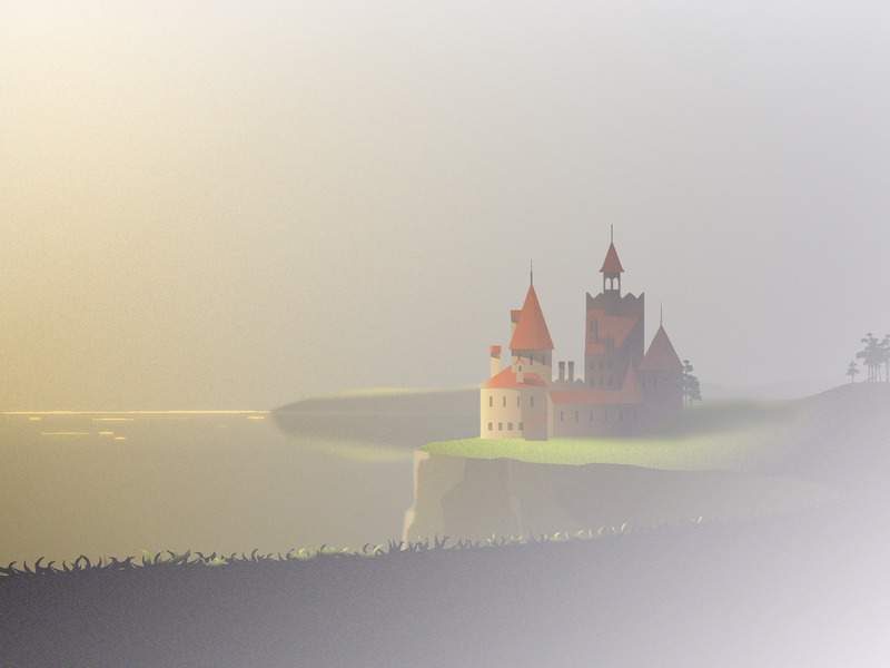 Castle on a cliff landscape calm glow cliff shore fog light sunset castle sea illustration